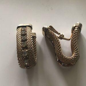 Jewelry - Gold tone mesh and rhinestone clip on earrings